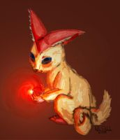 Victini: Mischeivous Monkey Cat by Mykoto