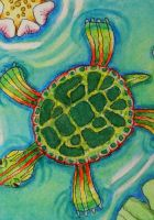 ATC Turtle Paradise by waughtercolors