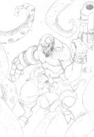 Hellboy vs tentacles lineart by Przemo85