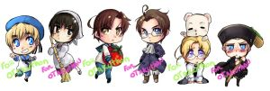 Hetalia Keychains group2 by T3hb33