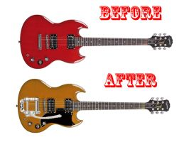 A efore and after picture of my red SG by PokerPokington