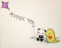 Dino and Panda Thank You 002 by MelodicInterval