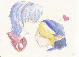 marth and young link by shinira
