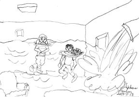Penny and Atsuko in a flooding room by stephdumas