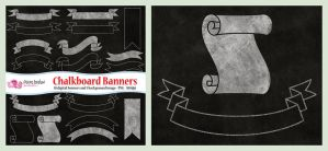 Chalkboard banners clip art by PolpoDesign