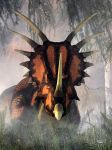 Styracosaurus in the Forest by deskridge
