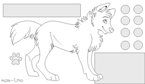 Free Wolf ref-sheet LINEART by tootflap