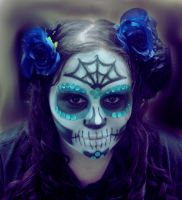 Blue Sugar Skull by Shearartdsgn