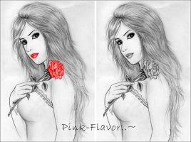 My - Red rose in hand by Pink-Flavor