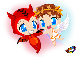 Devil Cupid and Cupid  ~SMITE by chibifanart