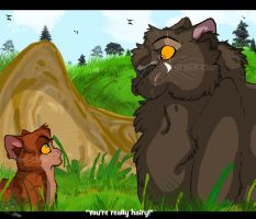 .Burntpaw and Pumafang. YOU'RE REALLY HAIRY! by Wolf-Chalk