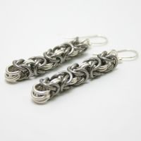 Silver + Titanium Byz Earrings by Utopia-Armoury