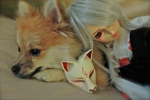 Fox Mask and The Pom by SheCow