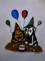 Meow Woof Petcare Birthday Card by StickstoMagnet