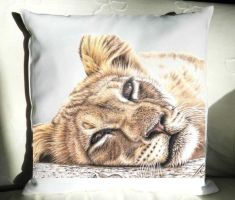 Pillow The Tired Lion by ArtsandDogs