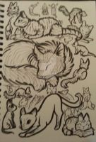 2 Pen Challenge_Page of Cats by Skitcy