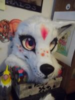 Sunny fursuit head W.I.P. 2 by AlieTheKitsune
