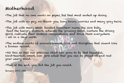 Motherhood poem cke2017 by sandykhoury