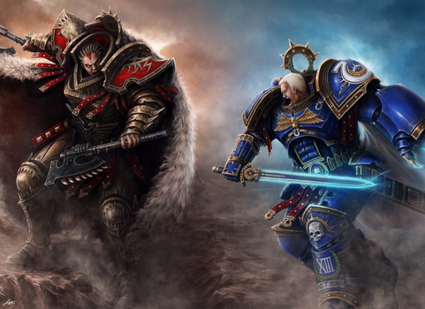 Roboute Guilliman, Angron (2017) by Taonavi