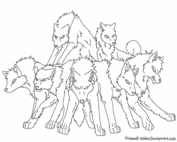 Pack of Wolves Lineart by Firewolf-Anime
