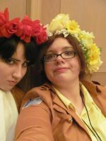 Hanji and Levi With Flower Crowns Acen 2014 by gingerwithasoul13