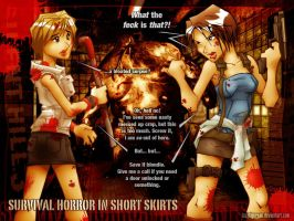survival horror in shortskirts by lazytigerart