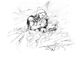 Loki and Thor - sleep on the ice by Marie-Robin