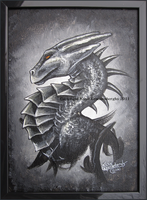 Black 'n White Dragon Portrait by Kamakru