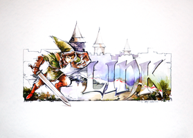 Video Game Watercolors 2 - Link Painting Video by Abstractmusiq