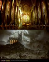 Dark Cathedral Interior/Outdoor by daRoz