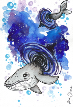 Watercolor whale by Blue-Chara