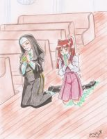 Nun, teen and glue by yomerome