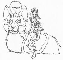 Corgi fairy knight and his mount by Agent-Sarah