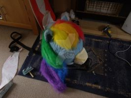 Rainbow Dash head mane completed by MadHamsterCostumes