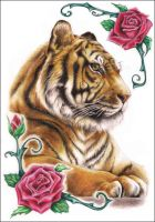 Tiger N' Roses by Z-ompire