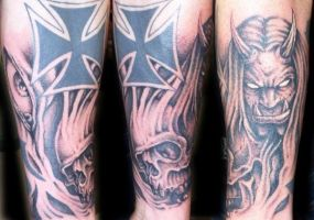 evil black and grey by tattoos-by-zip