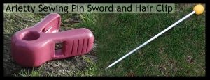 Arietty Sewing Pin Sword and Hair Clip by meanlilkitty