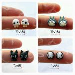 Ghibli stud earrings fanart by tivibi