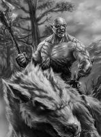 Azog (greyscale work) by Brolken