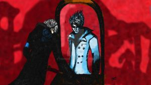 Vergil and Hollow Vergil (my first Digital Drawing by tannen97