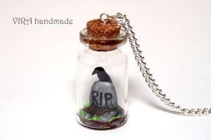 RIP tombstone with raven in a glass jar by virahandmade