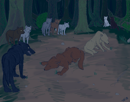 Quileute Wolf Pack Colored by Golden-Flute