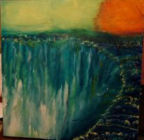 MELTED CRAYON ART THE FALLS by ArtisinmyHeart