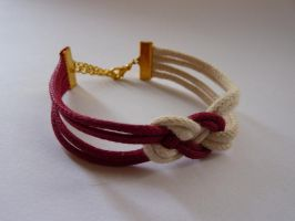 Nautical white and red rope knot bracelet by agarance