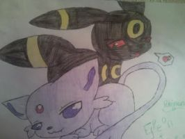 Pokemon Espeon and Unbreon by KyraAnimeLuver12