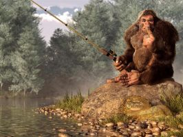 Sasquatch Goes Fishing by deskridge