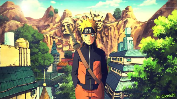 Naruto Shippuuden - Naruto Konoha (Wallpaper) by OxeloN
