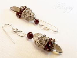 Garnet and Smoky Quartz Earrings by FILIGRY