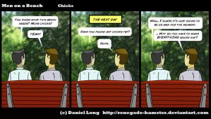 Men on a Bench - Chicks by Renegade-Hamster
