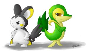 Proud Vanity - Snivy and Emolga by MissPiika